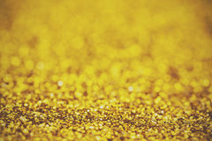 Close up a fine shining gold glitter Stock Images