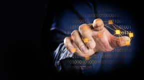 Finger point or touch on screen. Close up finger point or touch with blue jeans concept Royalty Free Stock Photography