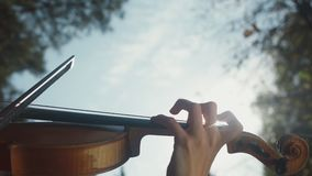 Close-up of fingers of the musician. Finger violinist. stock footage