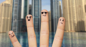 Close up of fingers with smiley faces Stock Image