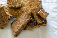 Close-up of Finished Cork Bark Ready for Manufacturing into Cork stock photos