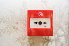 Close up of fire alarm switch in red box on wall Royalty Free Stock Photos