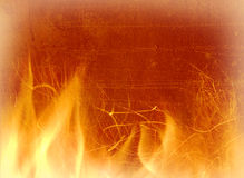 Close-up of fire on a background of an old wall. Close-up of fire and flames on a background of an old wall Stock Images