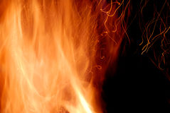 Close-up of fire on a black Royalty Free Stock Photos