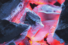 Close-up of fire with burning charcoal Royalty Free Stock Photo