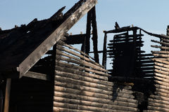 Close up Fire Damaged Wooden House Stock Photo