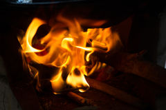 Close up of fire and flames on  background Stock Image