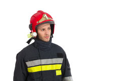 Close up of fireman looking away Royalty Free Stock Photo