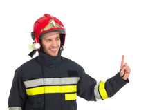 Close up of fireman pointing up. Stock Images