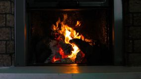Close up a fireplace with flames stock footage