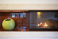Close-up of fireplace Stock Photo