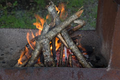 Close up on firewood burning in fire. Close view on fire wood burning in brazier Royalty Free Stock Images