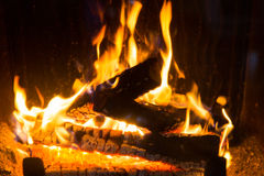 Close up of firewood burning in fireplace Royalty Free Stock Photo