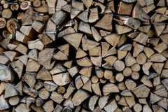 Close up of firewood cut on logs and stacked in backyard Stock Photography