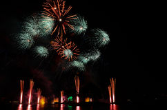 Close Up Fireworks in disney epcot Stock Photo
