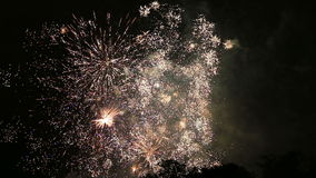 Close-up fireworks display with sound during National Day in Belgium, Brussels stock footage