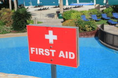 Close up of a First Aid sign at a luxury resort Stock Images