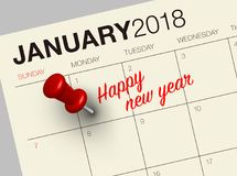 Close up of first day of the year 2018 on diary calendar. New year is the first day of the year in the Gregorian calendar Stock Photo