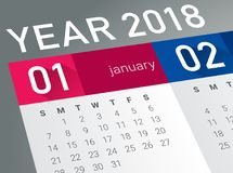 Close up of first day of the year 2018 on diary calendar. New year is the first day of the year in the Gregorian calendar Stock Photography