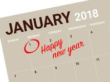 Close up of first day of the year 2018 on diary calendar. New year is the first day of the year in the Gregorian calendar Stock Photos