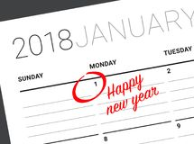 Close up of first day of the year 2018 on diary calendar. New year is the first day of the year in the Gregorian calendar Stock Images