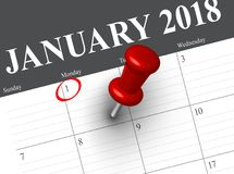 Close up of first day of the year 2018 on diary calendar. New year is the first day of the year in the Gregorian calendar Royalty Free Stock Photography