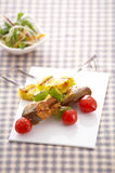 Close up fish barbecue and vegetable Royalty Free Stock Image