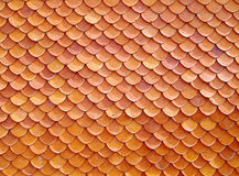 Close Up Fish Scales Or Arc Pattern Of Orange &x28;red Brick&x29; Thai Temple Or House Roof Tiles Stock Photo