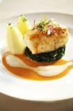 Close up fish steak and sauce Royalty Free Stock Photos