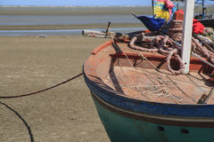 Close up of fishing boats. At the beach Royalty Free Stock Photos