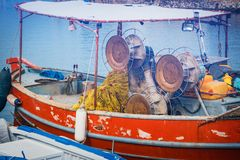 Fishing boats in the marina, Crete Island, Greece. Close up of fishing boats in the marina, Crete Island, Greece Stock Photo