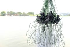 Close up fishing net stock photography