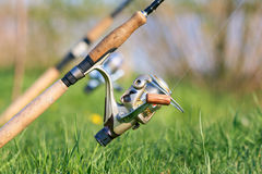 Close up fishing reel Royalty Free Stock Images