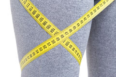 Close-up of fit leg with tape line around Stock Image