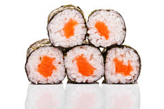 Close-up  of five sushi pieces Stock Photos