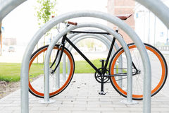 Close up of fixed gear bicycle at street parking Stock Image