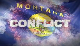 Conflict concept. State of Montana flag. Flags of the states of USA. 3D illustration. royalty free illustration