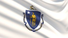 State of Massachusetts flag. Flags of the states of USA. Close up flag blowing in the wind. Waved highly detailed fabric texture royalty free stock images