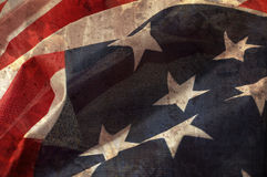 Close up flag of United State of America. Close up flag of United State of America overlaid with grunge texture Stock Image
