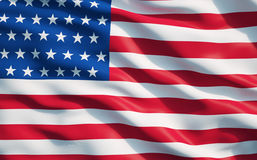 Close up of the flag of the United State of America. stock illustration