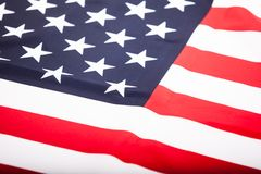 Close up of the flag of the United States. Lying flag of the gre Stock Image