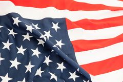 Close up of the flag of the United States. Lying flag of the gre Royalty Free Stock Photography