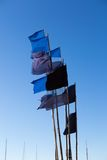 Close up of flags on fisherman boat Royalty Free Stock Photo