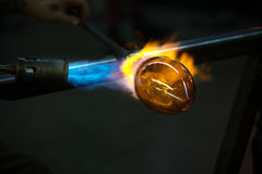 Finishing Glass Object with Torch Royalty Free Stock Image