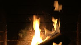 Fireplace Close Up 2. Close up on the flame of the fireplace stock footage