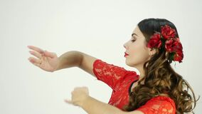 Close-up flamenco dancer on a light background. slow motion stock video