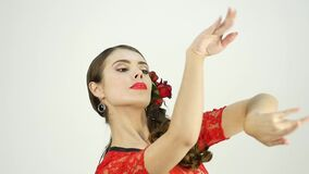 Close-up flamenco dancer on a light background. slow motion stock video footage