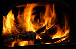 Close Up Of Flaming Logs On Fire Stock Image