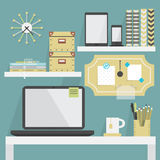 Close up of flat, modern, and trendy working place with some accessories Stock Images