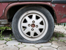 Close up Flat tire Stock Images